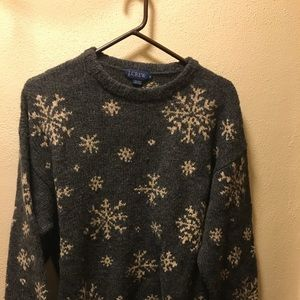 Gray snowflake J.Crew sweater - M